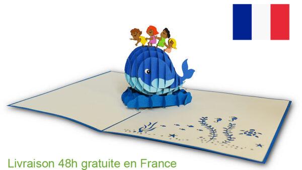 Baleine et enfants-carte Pop Up 3D chez cartepopup.com
