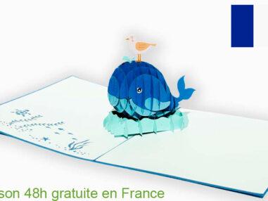 Baleine et oiseau-carte Pop Up 3D avec InsertNote chez cartepopup.com