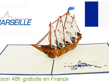 Bateau battle-carte Pop Up 3D «MARSEILLE» avec InsertNote chez https://cartepopup.com/