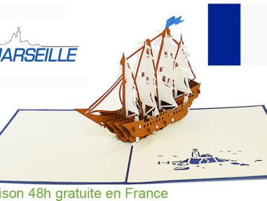 Bateau battle-carte Pop Up 3D «MARSEILLE» avec InsertNote chez https://cartepopup.com/