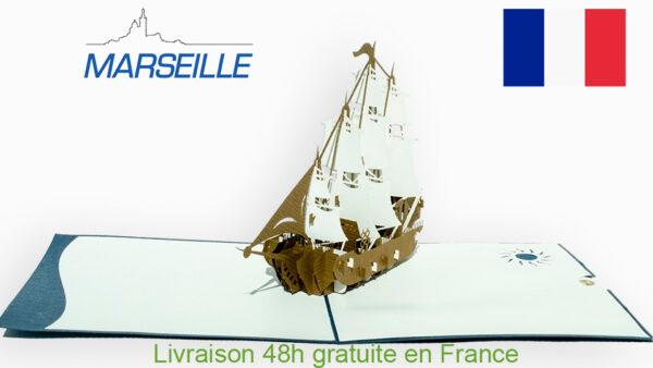 Bateau de Soleil-carte Pop Up 3D «MARSEILLE» avec InsertNote chez cartepopup.com