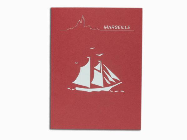 Bateau et le Vent-carte Pop Up 3D «MARSEILLE» avec InsertNote chez cartepopup.com