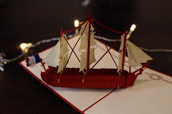 Bateau l'Hermione-carte Pop Up 3D chez cartepopup.com