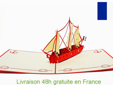 Bateau l'Hermione-carte Pop Up 3D chez cartepopup.com