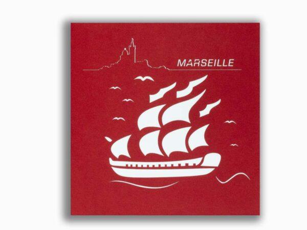Bateau l'Hermione-carte Pop Up 3D «MARSEILLE» avec InsertNote chez cartepopup.com