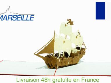Bateau vintage-carte Pop Up 3D «MARSEILLE» avec InsertNote chez cartepopup.com