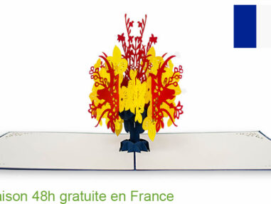 Bouquet de Fleurs-carte Pop Up 3D chez cartepopup.com