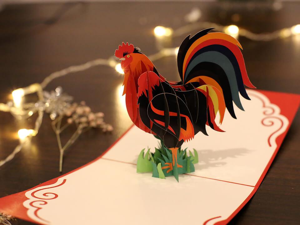 carte 3D Le Coq Les Gaulois-carte Pop Up 3D chez cartepopup.com