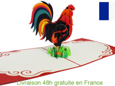 Le Coq Les Gaulois-carte Pop Up 3D chez cartepopup.com