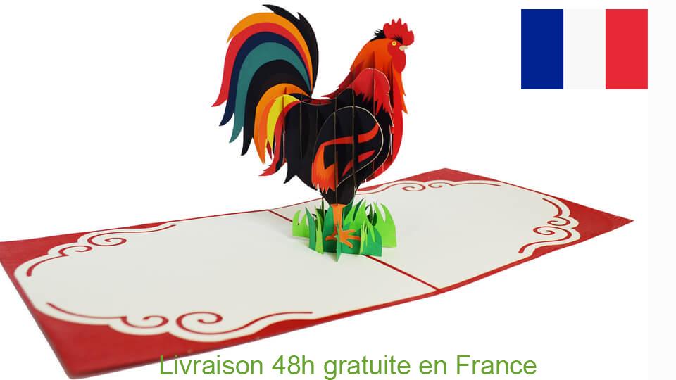 Le Coq Les Gaulois-carte Pop Up 3D chez cartepopup.com
