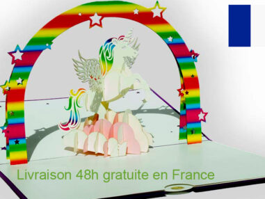 Licorne-carte Pop Up 3D avec InsertNote chez cartepopup.com