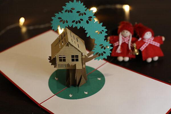 Maison sur arbre-carte Pop Up 3D chez cartepopup.com