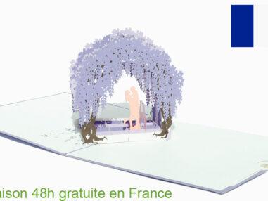 Porte de la glycine-carte Pop Up 3D avec InsertNote chez cartepopup.com