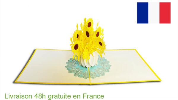 Tournesol-carte Pop Up 3D chez cartepopup.com