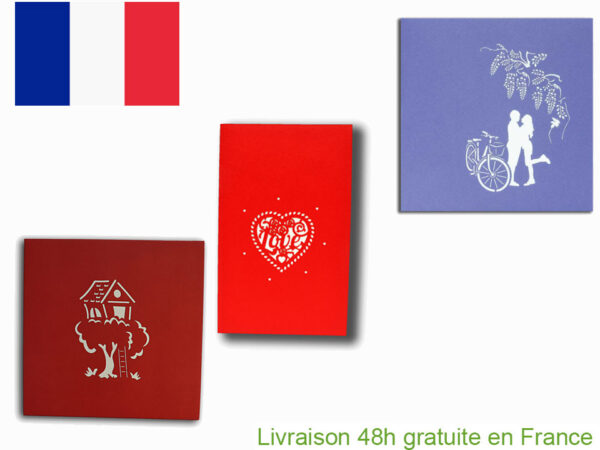 Collection amour-carte Pop Up 3D chez cartepopup.com