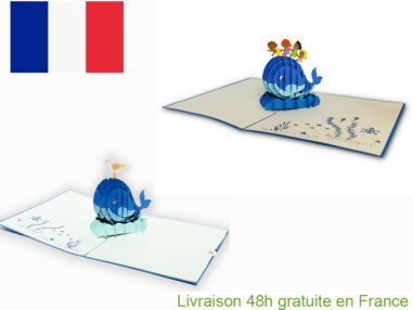 Collection baleine bleu-carte Pop Up 3D chez cartepopup.com