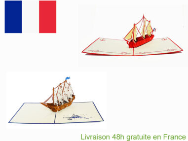 Collection bateaux vintages-carte Pop Up 3D chez cartepopup.com