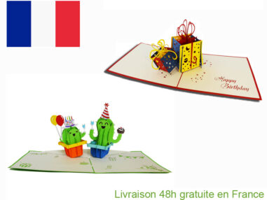 Collection cadeaux anniversaire-carte Pop Up 3D chez cartepopup.com
