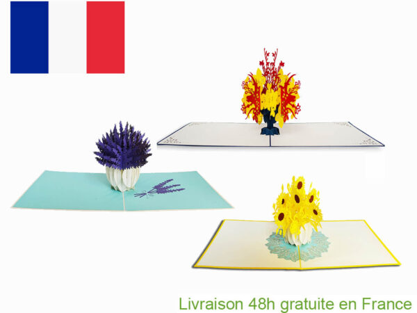 carte pop up fleurs d'Été-carte Pop Up 3D chez cartepopup.com