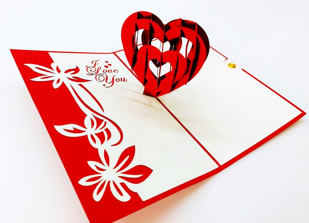 Coeur LOVE YOU-carte Pop Up 3D, carte de voeux, carte d'amour, Valentin chez cartepopup.com