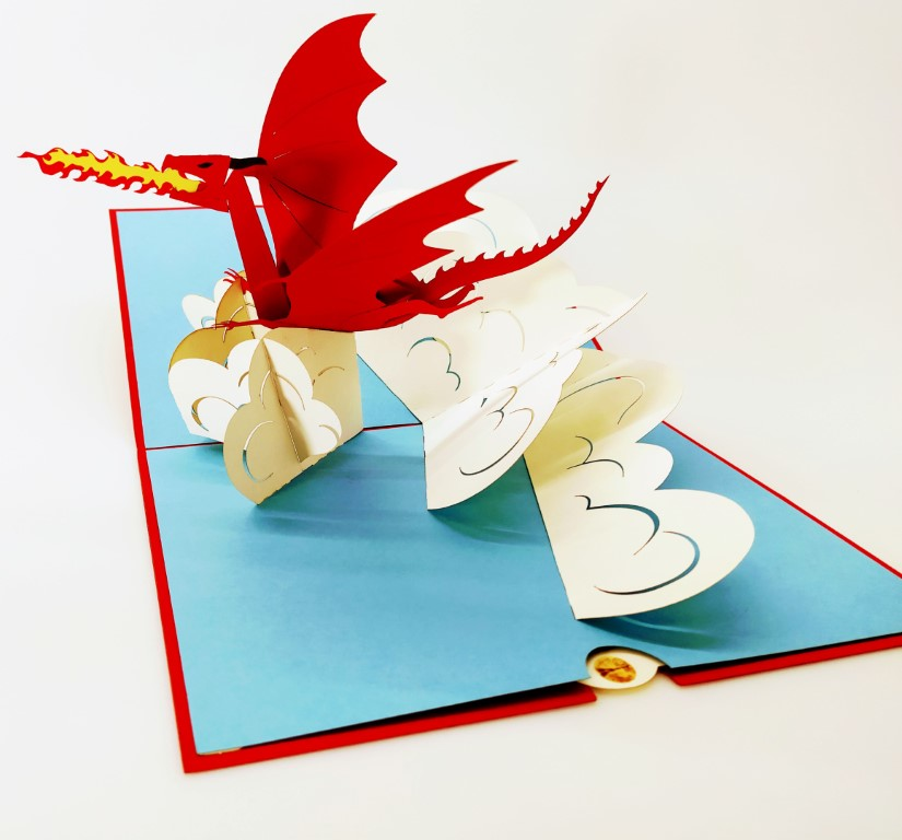 Fire Dragon Dragon rouge de feu-carte Pop Up 3D, carte de voeux, carte de félicitation, de souvenirs chez cartepopup.com