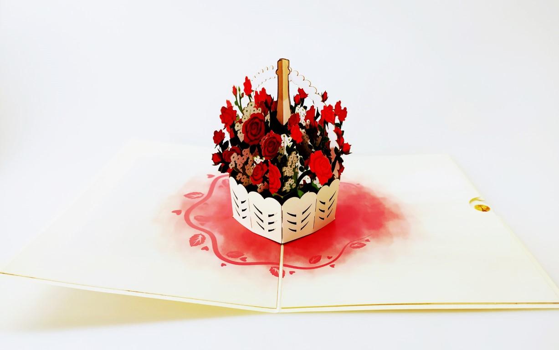Fleurs et Champagne-carte Pop Up 3D, carte de voeux, bonne année, carte de félicitation, d'amour chez cartepopup.com