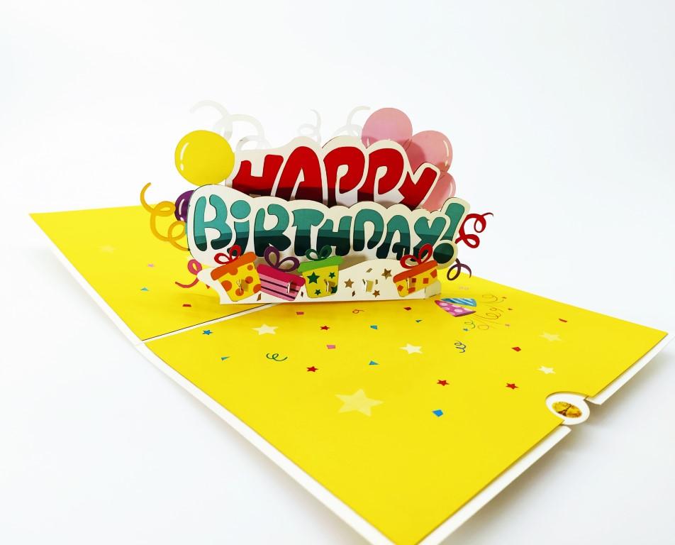cadeau anniversaire-HAPPY BIRTHDAY-carte Pop Up 3D, carte de voeux, carte d'anniversaire chez cartepopup.com