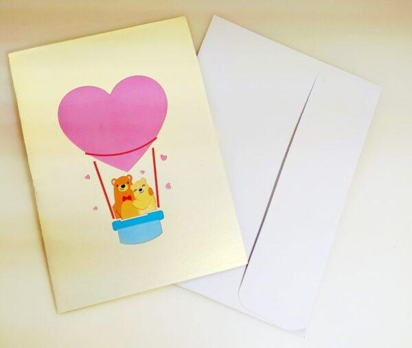 Oursons en montgolfiere coeur-carte Pop Up 3D, carte de voeux, carte d'amour, Valentin chez cartepopup.com