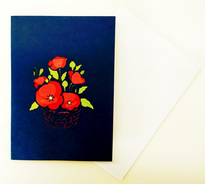 Panier de coquelicots-carte Pop Up 3D, carte de voeux, carte de félicitation, de souvenirs chez cartepopup.com